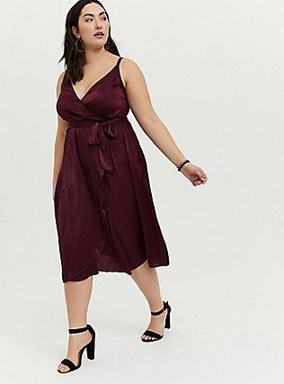 Burgundy Purple Textured Charmeuse Midi Wrap Dress, , hi-res