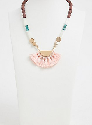 Plus Size Multi Bead Fringe Fan Statement Necklace, , alternate