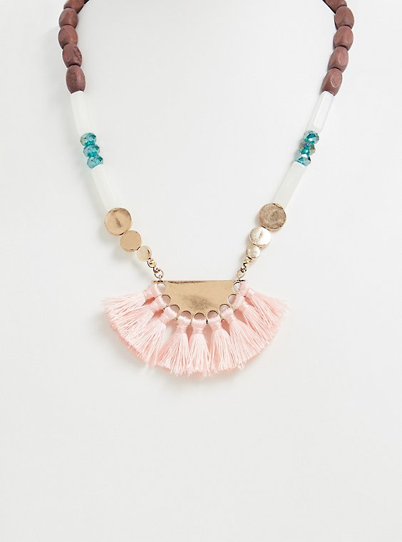 Plus Size Multi Bead Fringe Fan Statement Necklace, , hi-res