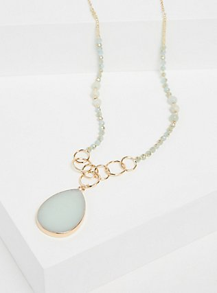 Plus Size Gold-Tone Mint Green Agate Pendant Beaded Necklace, , alternate