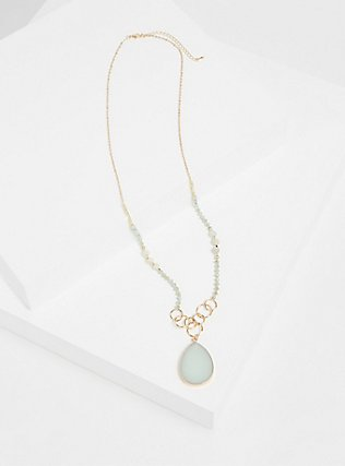 Plus Size Gold-Tone Mint Green Agate Pendant Beaded Necklace, , hi-res