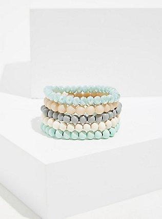 Plus Size Mint Green Beaded Stretch Bracelet Set - Set of 5, MINT, alternate
