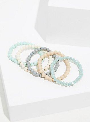 Plus Size Mint Green Beaded Stretch Bracelet Set - Set of 5, MINT, hi-res