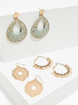 Plus Size Gold-Tone & Mint Green Dangle Earrings Set - Set of 3, , hi-res