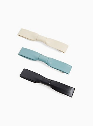 Plus Size Multi Faux Leather Bow Barrette Pack - Pack of 3, , hi-res