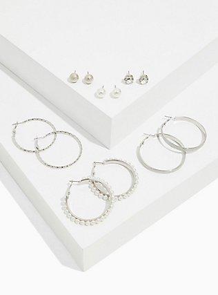 Plus Size Silver-Tone Faux Pearl Stud & Hoop Earrings Set - Set of 6, , hi-res