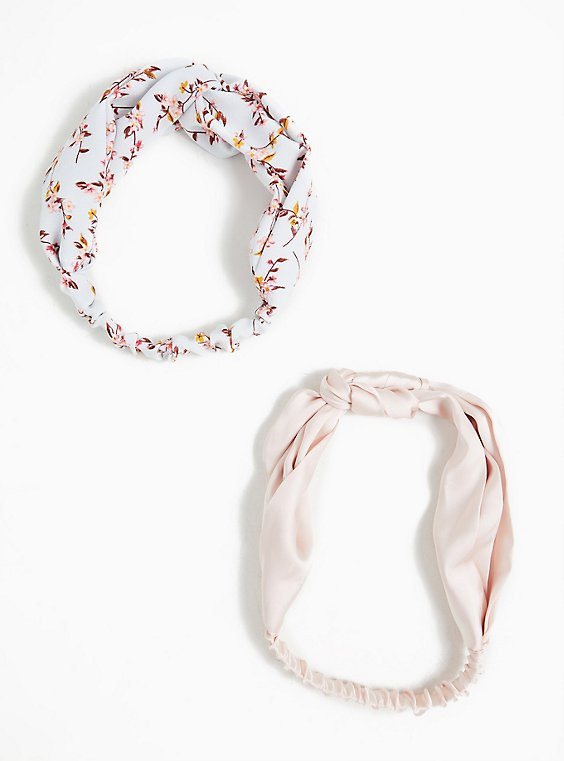 Plus Size Light Blue Floral Top Knot Headband Pack - Pack of 2, , hi-res