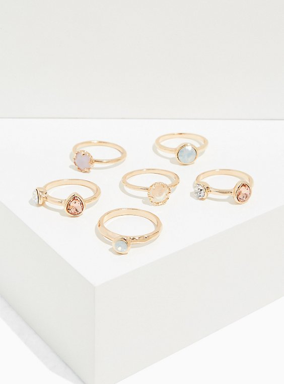 Gold-Tone Faux Moon Stone Ring Set - Set of 6, , hi-res