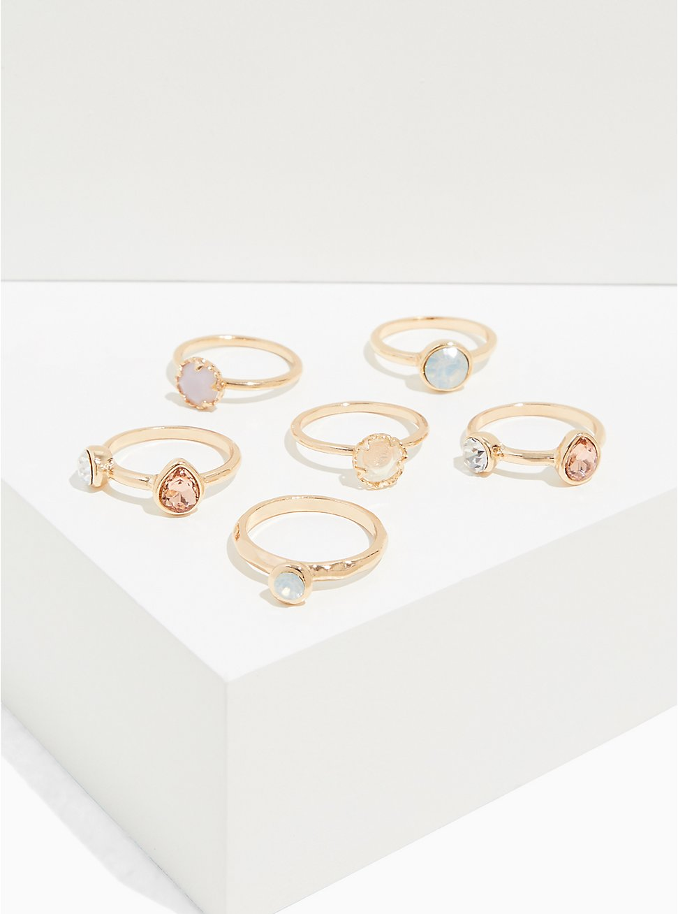 Gold-Tone Faux Moon Stone Ring Set - Set of 6, MULTI, hi-res