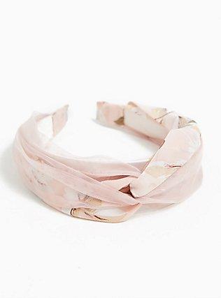 Plus Size Blush Pink Floral Twist Headband, , alternate