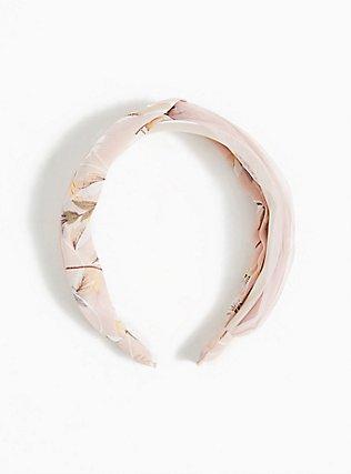 Plus Size Blush Pink Floral Twist Headband, , hi-res