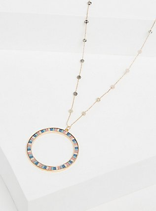 Plus Size Gold-Tone Pastel Circle Pendant Necklace, , alternate