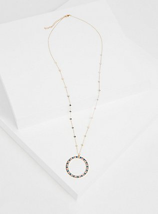 Plus Size Gold-Tone Pastel Circle Pendant Necklace, , hi-res