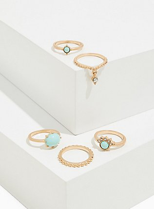 Plus Size Gold-Tone & Mint Faux Stone Ring Set - Set of 5, MINT, hi-res