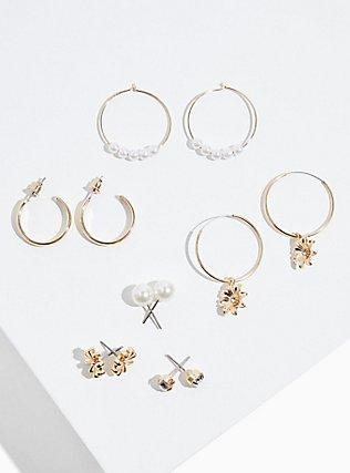 Plus Size Faux Pearl Hoop & Stud Earrings Set - Set of 6, , hi-res