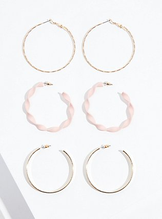 Blush Pink Twisted Hoop Earrings Set - Set of 3, , alternate