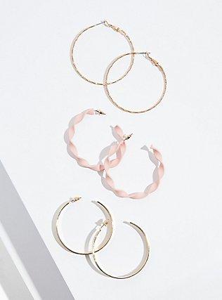 Plus Size Blush Pink Twisted Hoop Earrings Set - Set of 3, , hi-res