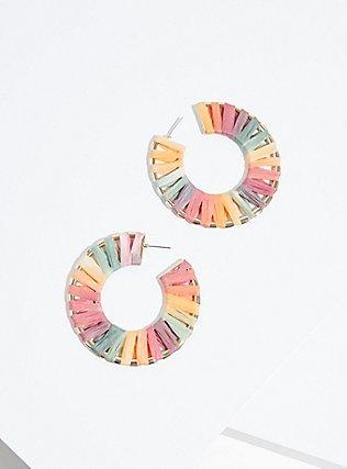 Plus Size Rainbow Stripe Straw Hoop Earrings, , alternate