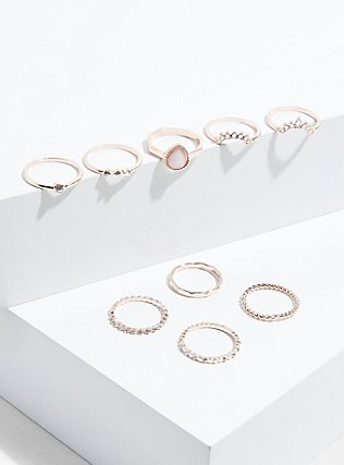 Plus Size Rose Gold-Tone Faux Opal Teardrop Ring Set - Set of 9, ROSE GOLD, alternate