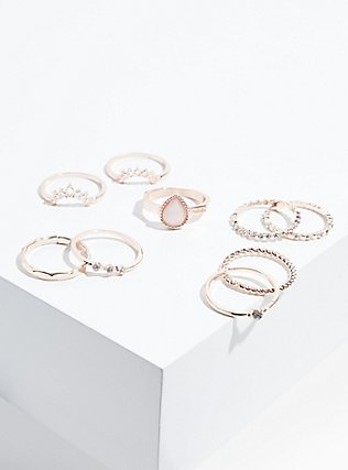 Plus Size Rose Gold-Tone Faux Opal Teardrop Ring Set - Set of 9, ROSE GOLD, hi-res