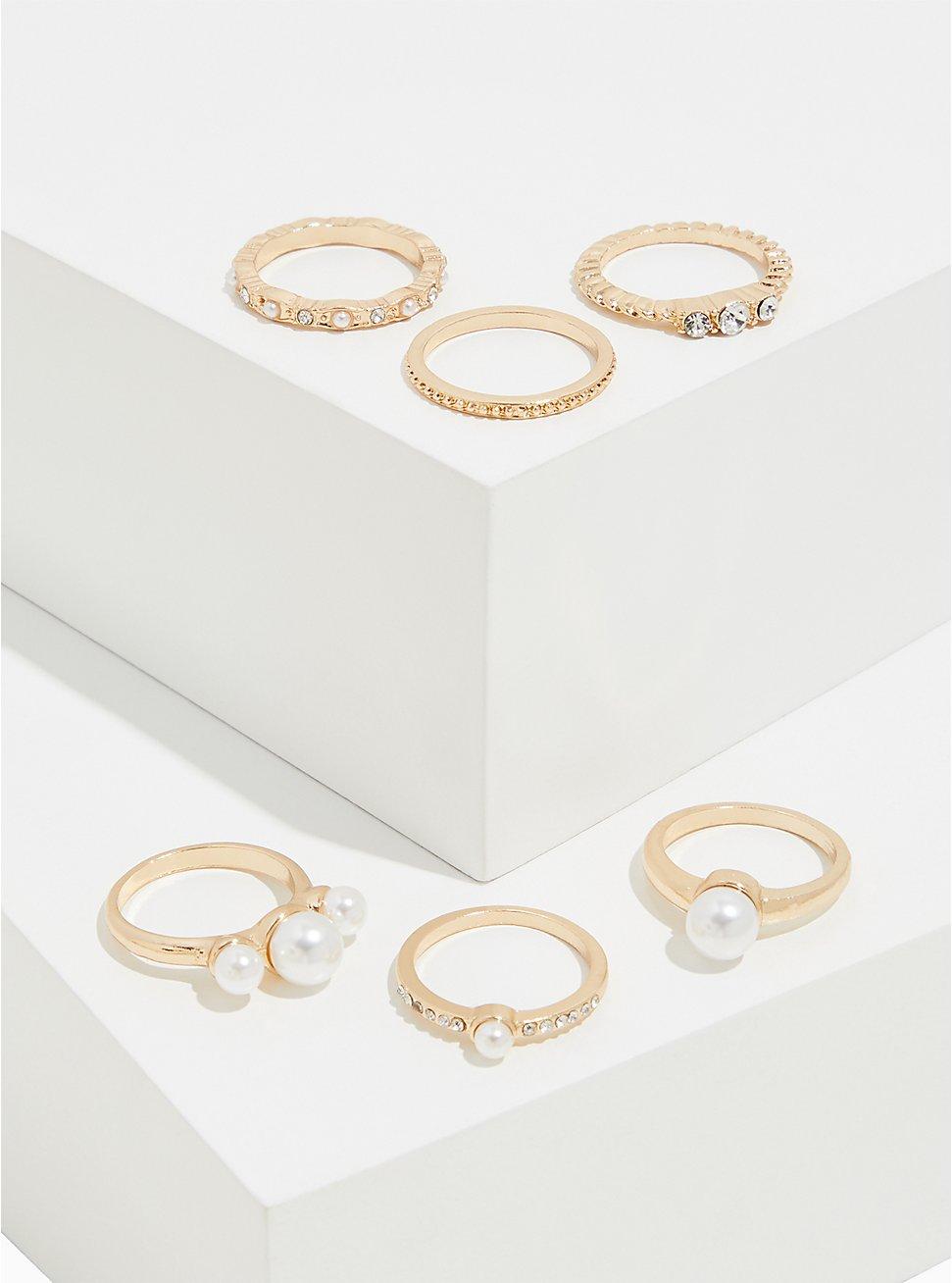Gold-Tone Faux Pearl Ring Set - Set of 6, GOLD, hi-res