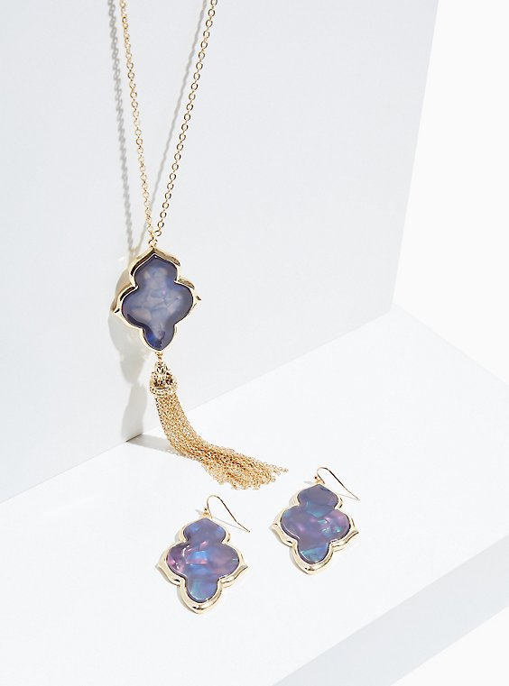 Blue Iridescent Kite Earrings & Tassel Necklace Set, , hi-res