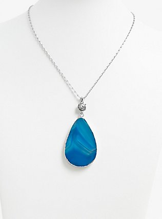 Plus Size Silver-Tone & Teal Agate Pendant Necklace, , alternate
