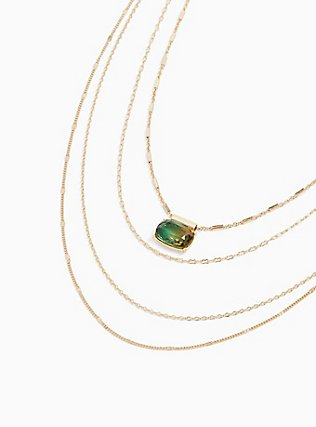 Plus Size Gold-Tone & Green Rhinestone Layered Necklace, , alternate