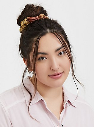Mustard Yellow Polka Dot Hair Tie Pack - Pack of 5, , alternate