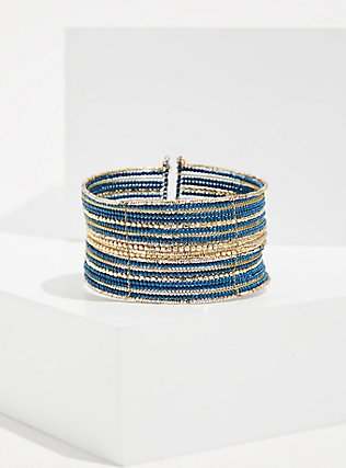 Blue & Gold-Tone Beaded Statement Cuff, TEAL, hi-res