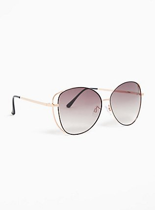 Plus Size Rose Gold-Tone & Black Vented Sunglasses, , alternate