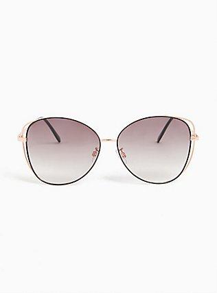 Plus Size Rose Gold-Tone & Black Vented Sunglasses, , hi-res