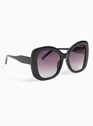 Black Oversized Ombre Sunglasses, , alternate