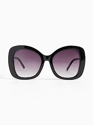 Black Oversized Ombre Sunglasses, , hi-res