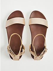 Plus Size Gold Faux Leather Ankle Strap Flatform (WW), GOLD, alternate