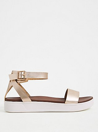 Gold Faux Leather Ankle Strap Flatform (WW), GOLD, alternate