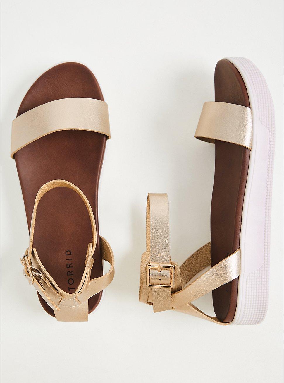 Plus Size Gold Faux Leather Ankle Strap Flatform (WW), GOLD, hi-res