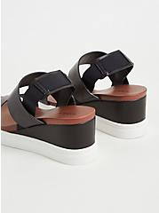 Black Faux Leather Wedge Sandal (WW), BLACK, alternate