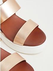 Plus Size Metallic Rose Gold Faux Leather Wedge Sandal (WW), ROSE GOLD, alternate