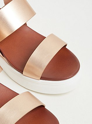 Metallic Rose Gold Faux Leather Wedge Sandal (WW), ROSE GOLD, alternate