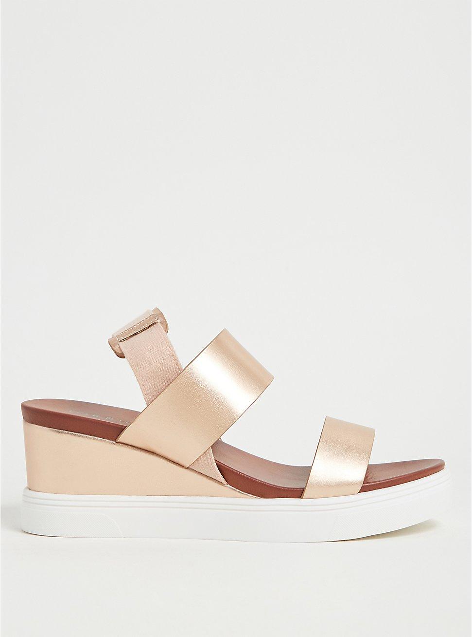 Plus Size Metallic Rose Gold Faux Leather Wedge Sandal (WW), ROSE GOLD, hi-res