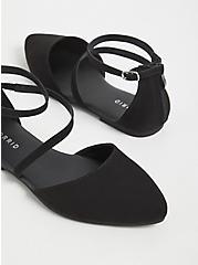 Plus Size Black Faux Suede Ankle Strap D'Orsay Flat (WW), BLACK, alternate