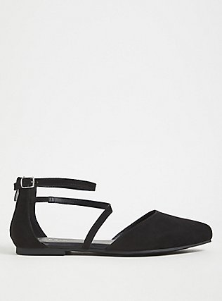 Black Faux Suede Ankle Strap D'Orsay Flat (WW), BLACK, alternate