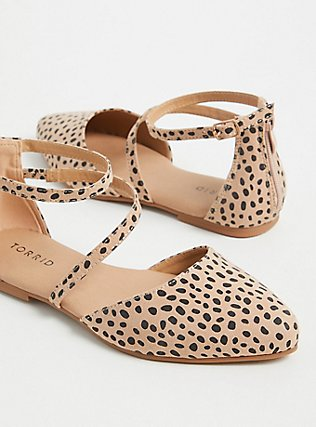 Leopard Faux Suede Ankle Strap D'Orsay Flat (WW), ANIMAL, alternate