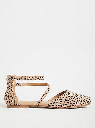 Plus Size Leopard Faux Suede Ankle Strap D'Orsay Flat (WW), ANIMAL, alternate