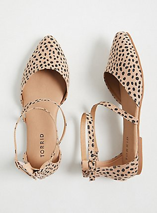 Leopard Faux Suede Ankle Strap D'Orsay Flat (WW), ANIMAL, hi-res