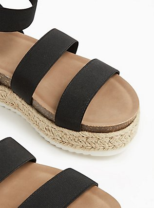 Black Elastic Ankle Strap Espadrille Flatform (WW), BLACK, alternate
