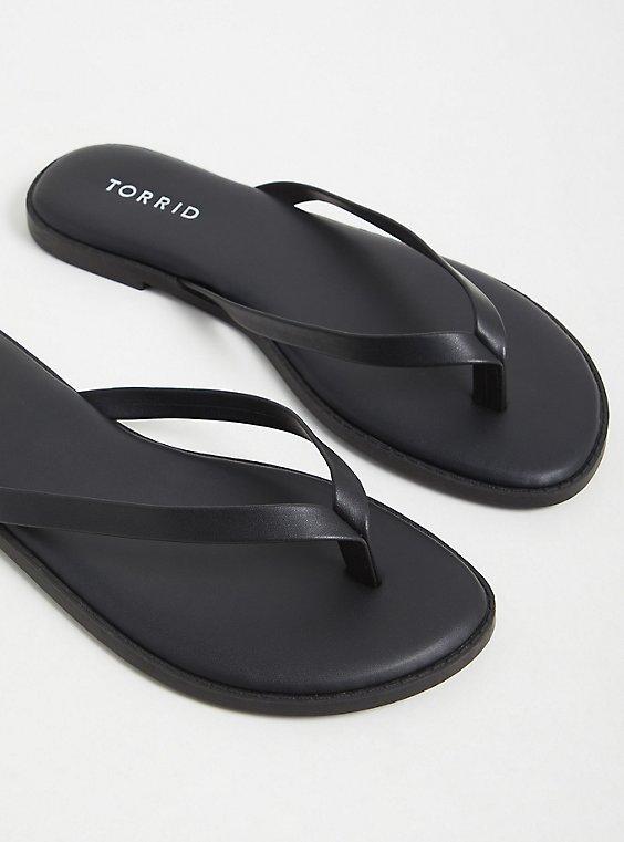 Black Faux Leather Flip Flop (WW), BLACK, ls