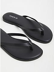 Black Faux Leather Flip Flop (WW), BLACK, hi-res