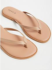 Beige Faux Leather Flip Flop (WW), , alternate